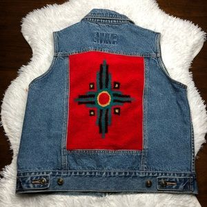Vintage County Clothing Southwest Style Denim Vest